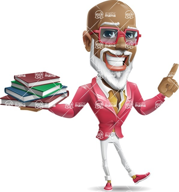 Mature African American Man Cartoon Character - with Books