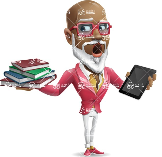 Mature African American Man Cartoon Character - Choosing between Book and Tablet