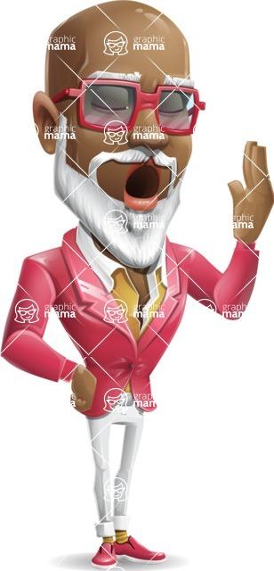 Mature African American Man Cartoon Character - Feeling Bored