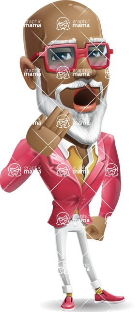 Mature African-American Man Cartoon Vector Character - Yawning