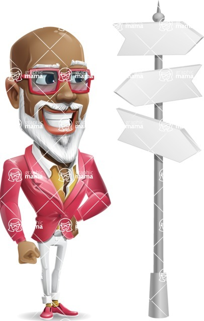 Mature African American Man Cartoon Character - on a Crossroad with sign pointing in all directions
