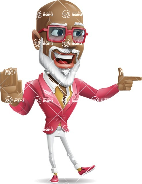 Mature African American Man Cartoon Character - Pointing with a fnger