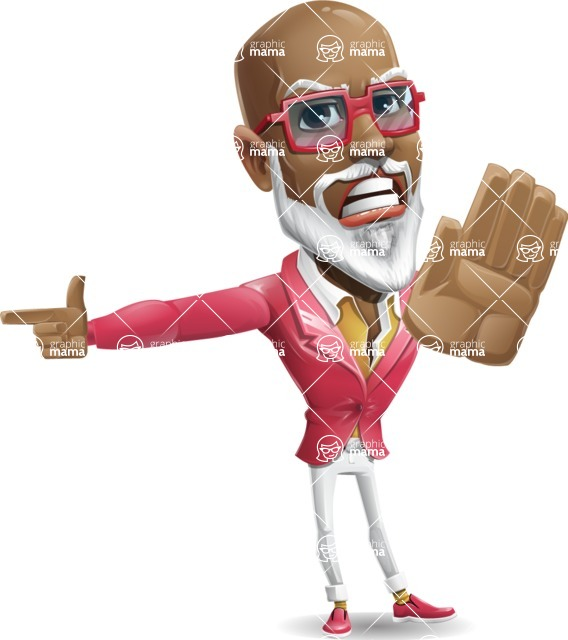 Mature African American Man Cartoon Character - Finger pointing with angry face