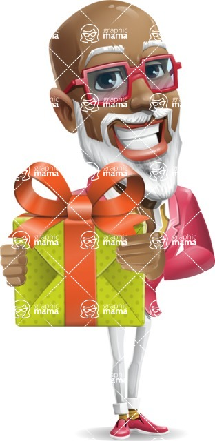 Mature African-American Man Cartoon Vector Character - with Gift box