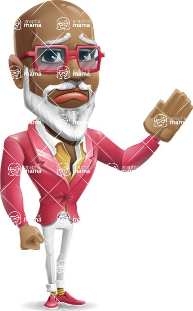 Mature African American Man Cartoon Character - Waving for Goodbye with a hand