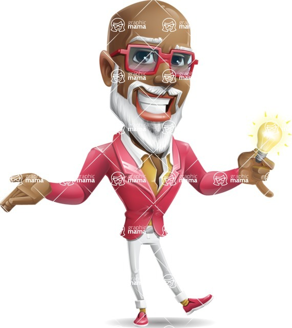 Mature African American Man Cartoon Character - with an Idea