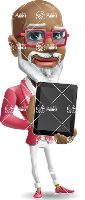 Mature African American Man Cartoon Character - Holding tablet