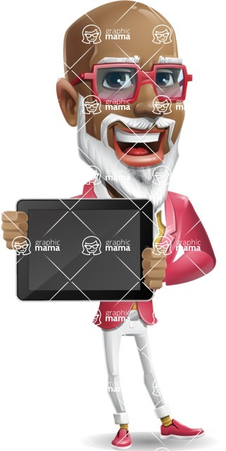 Mature African American Man Cartoon Character - Showing tablet