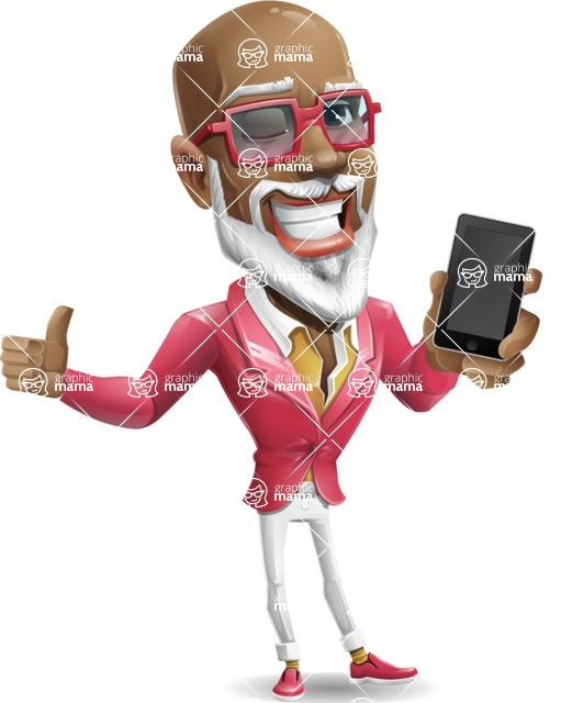 Mature African American Man Cartoon Character - Holding a smartphone