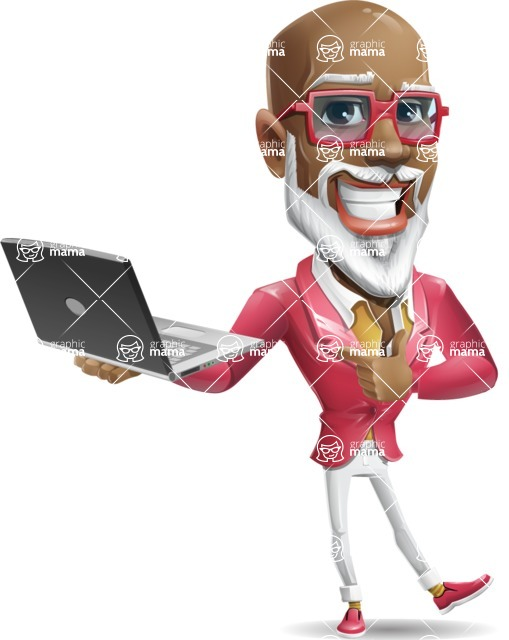 Mature African-American Man Cartoon Vector Character - Holding a laptop