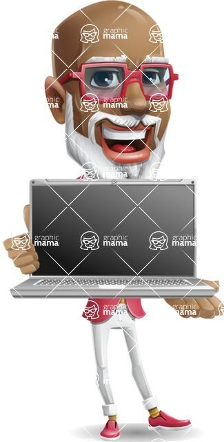 Mature African American Man Cartoon Character - Showing a laptop