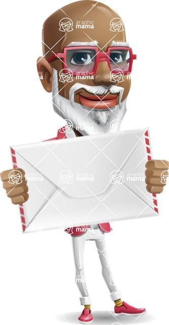 Mature African American Man Cartoon Character - Holding mail envelope
