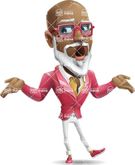 Mature African American Man Cartoon Character - Feeling Lost