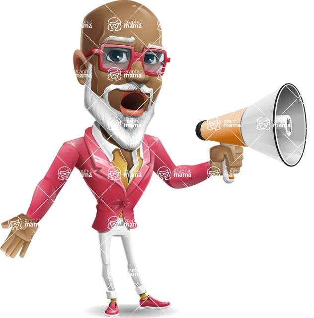 Mature African American Man Cartoon Character - Holding a Loudspeaker
