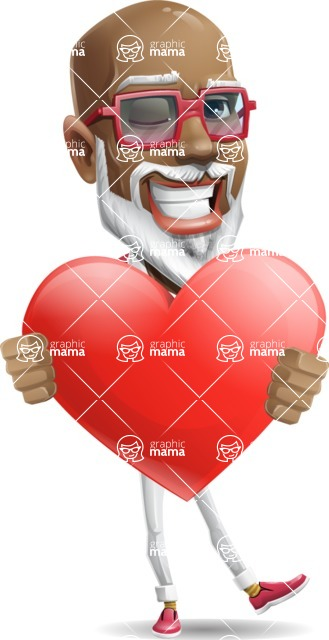 Mature African American Man Cartoon Character - Holding heart