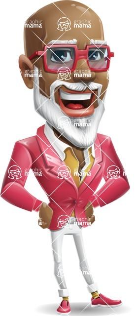 Mature African-American Man Cartoon Vector Character - Smiling