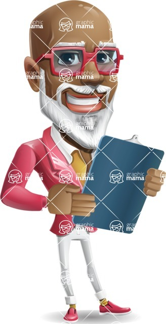 Mature African American Man Cartoon Character - Holding a notepad