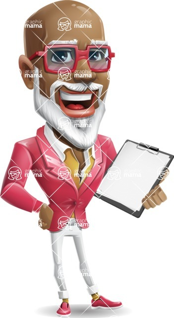 Mature African American Man Cartoon Character - Smiling and holding notepad