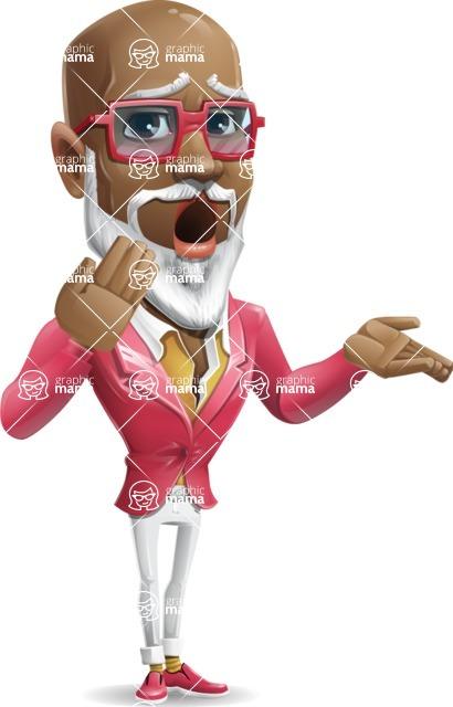 Mature African American Man Cartoon Character - Making Oops gesture