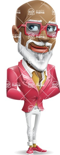 Mature African American Man Cartoon Character - Waiting with hands behind back