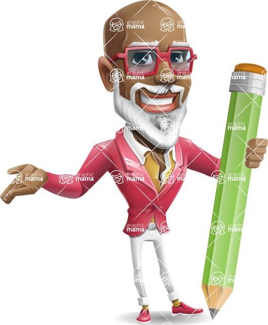 Mature African American Man Cartoon Character - Holding Pencil