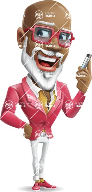 Mature African American Man Cartoon Character - Talking on smartphone