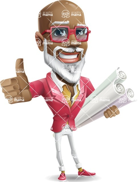 Mature African American Man Cartoon Character - Holding Plans