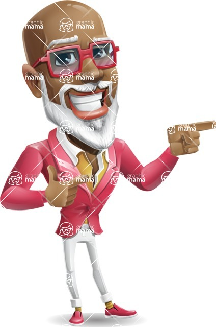 Mature African American Man Cartoon Character - Pointing with both hands