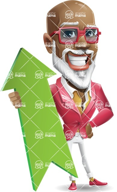 Mature African American Man Cartoon Character - with Up arrow