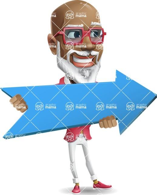 Mature African-American Man Cartoon Vector Character - with Positive arrow