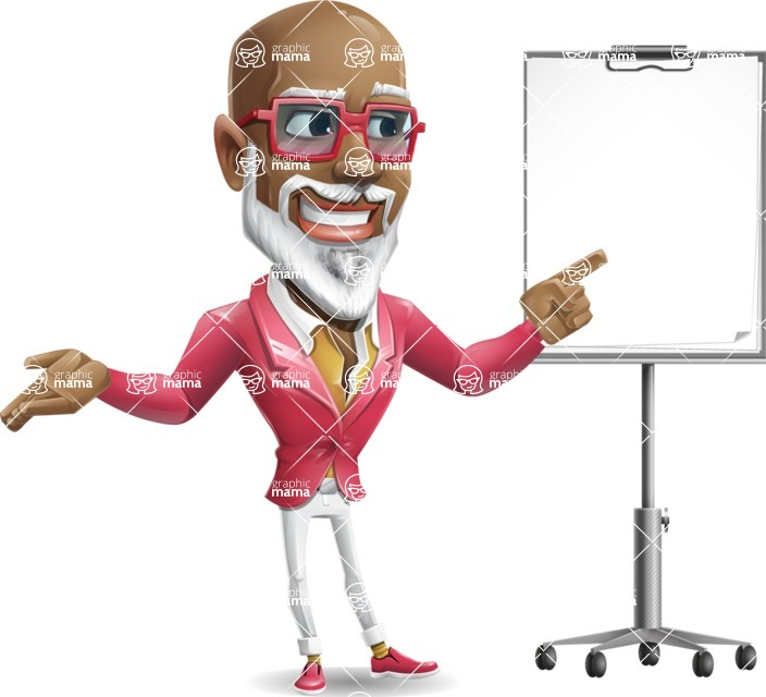 Mature African American Man Cartoon Character - with a Blank Presentation board