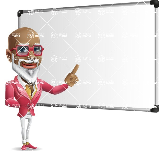 Mature African-American Man Cartoon Vector Character - Making a Presentation on a Blank white board
