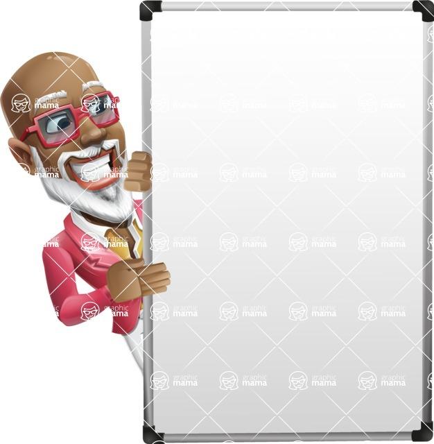 Mature African American Man Cartoon Character - with Big Presentation board