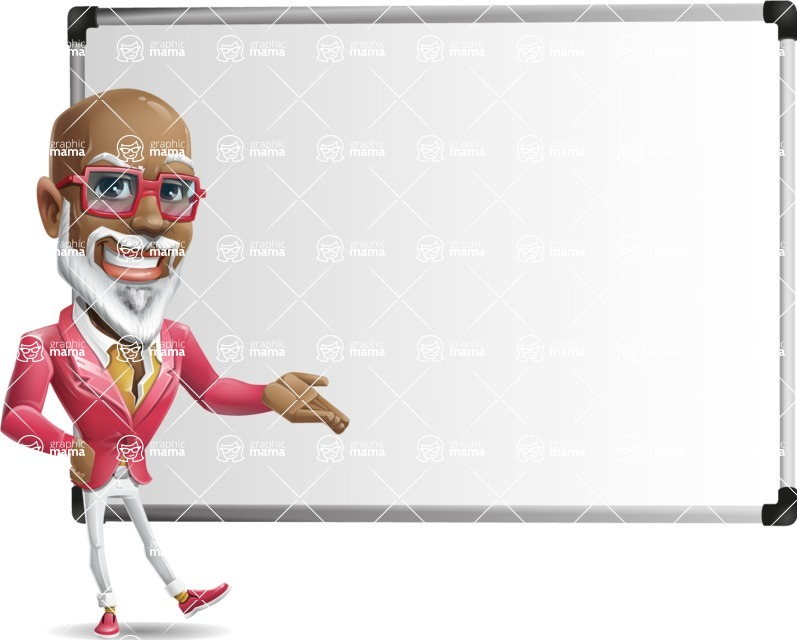 Mature African American Man Cartoon Character - Showing on Big whiteboard