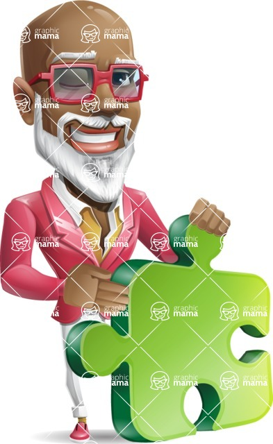 Mature African American Man Cartoon Character - with Puzzle