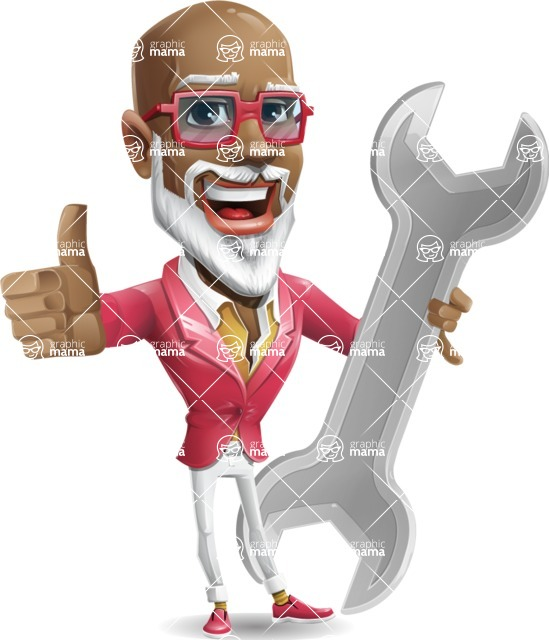 Mature African American Man Cartoon Character - with Repairing tool wrench