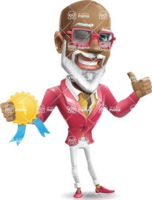 Mature African American Man Cartoon Character - Winning prize