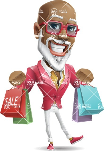 Mature African American Man Cartoon Character - Holding shopping bags
