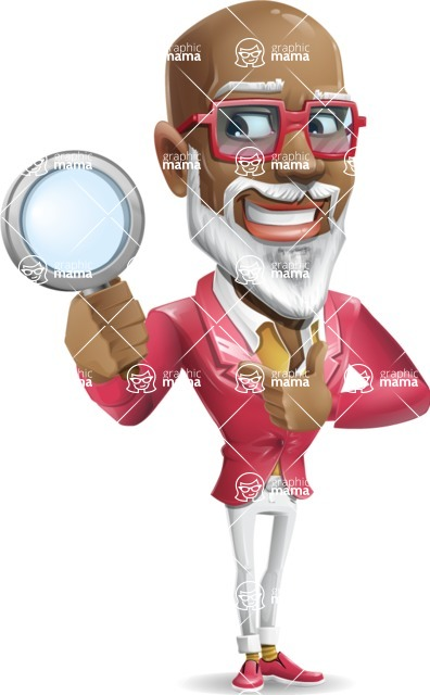 Mature African American Man Cartoon Character - Searching with magnifying glass
