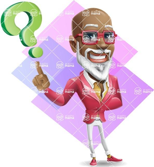 Mature African American Man Cartoon Character - Shape 11