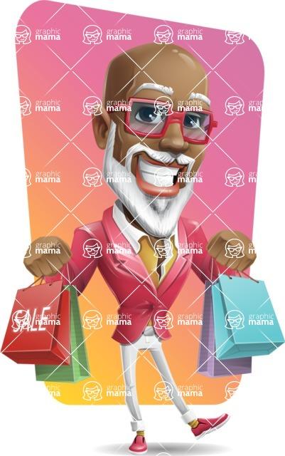 Mature African-American Man Cartoon Vector Character - Shape 12