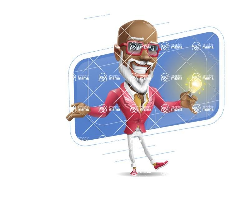 Mature African-American Man Cartoon Vector Character - Shape10