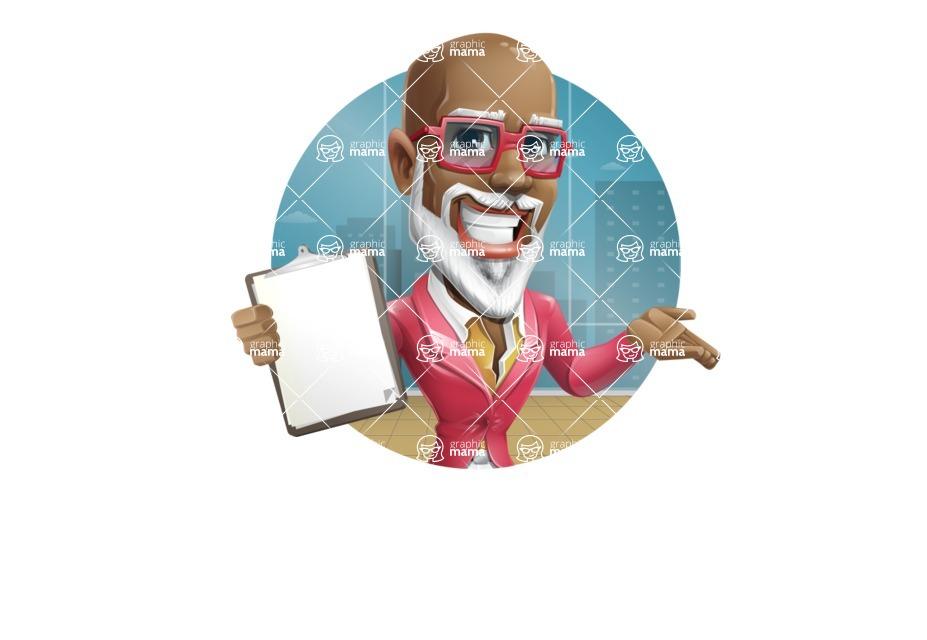 Mature African-American Man Cartoon Vector Character - Shape2