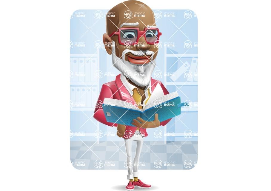 Mature African American Man Cartoon Character - Shape6