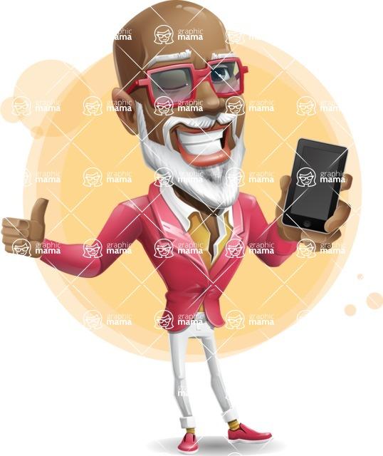 Mature African-American Man Cartoon Vector Character - Shape7