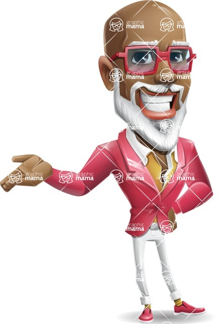 Mature African American Man Cartoon Character - Showing with right hand