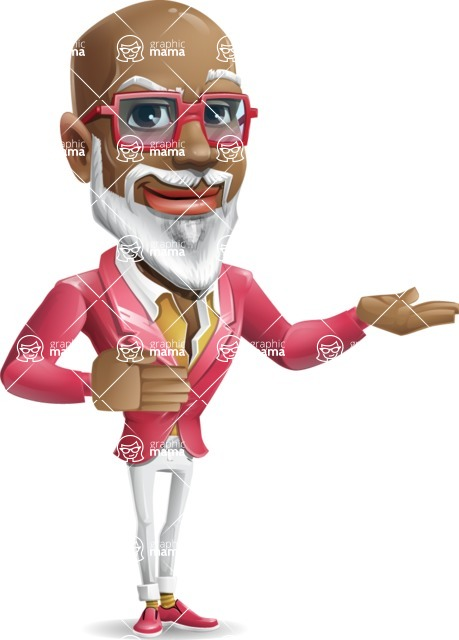 Mature African American Man Cartoon Character - Showing with both hands
