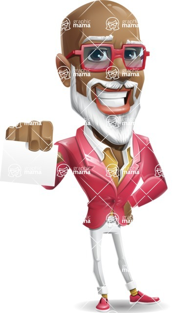 Mature African American Man Cartoon Character - with a Blank Business card