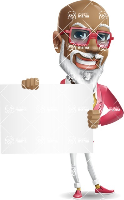 Mature African American Man Cartoon Character - Holding a Blank sign