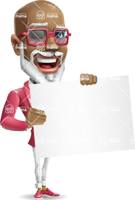 Mature African-American Man Cartoon Vector Character - Holding a Blank banner